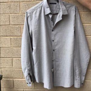 Theory men's cotton plaid print shirt Sz M